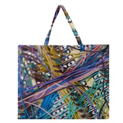 Circuit Computer Zipper Large Tote Bag by BangZart