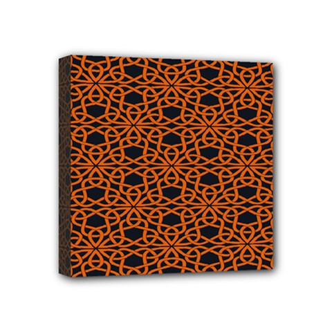 Triangle Knot Orange And Black Fabric Mini Canvas 4  X 4  by BangZart