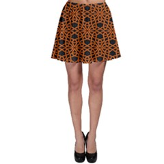 Triangle Knot Orange And Black Fabric Skater Skirt by BangZart