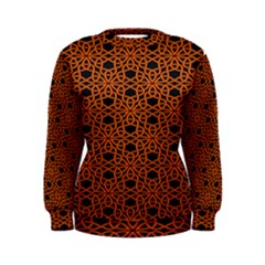 Triangle Knot Orange And Black Fabric Women s Sweatshirt by BangZart
