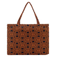 Triangle Knot Orange And Black Fabric Medium Zipper Tote Bag