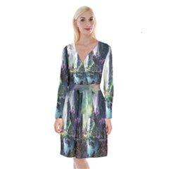 Fantastic World Fantasy Painting Long Sleeve Velvet Front Wrap Dress by BangZart
