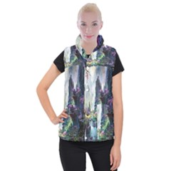 Fantastic World Fantasy Painting Women s Button Up Puffer Vest