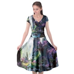 Fantastic World Fantasy Painting Cap Sleeve Wrap Front Dress