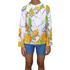 Fruits Water Vegetables Food Kids  Long Sleeve Swimwear by BangZart