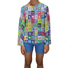 Exquisite Icons Collection Vector Kids  Long Sleeve Swimwear