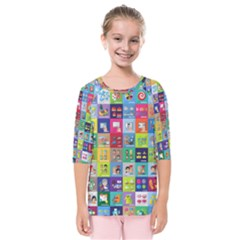 Exquisite Icons Collection Vector Kids  Quarter Sleeve Raglan Tee