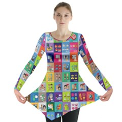 Exquisite Icons Collection Vector Long Sleeve Tunic  by BangZart