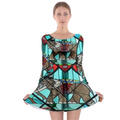 Elephant Stained Glass Long Sleeve Skater Dress