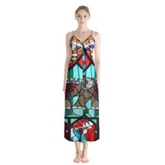 Elephant Stained Glass Button Up Chiffon Maxi Dress