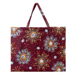 India Traditional Fabric Zipper Large Tote Bag by BangZart