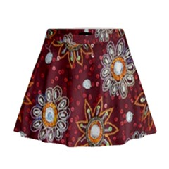 India Traditional Fabric Mini Flare Skirt