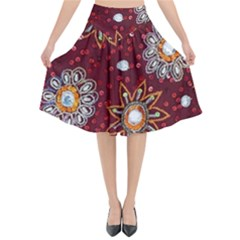 India Traditional Fabric Flared Midi Skirt