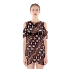Art Traditional Batik Pattern Shoulder Cutout One Piece