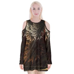 Fractalius Abstract Forests Fractal Fractals Velvet Long Sleeve Shoulder Cutout Dress by BangZart