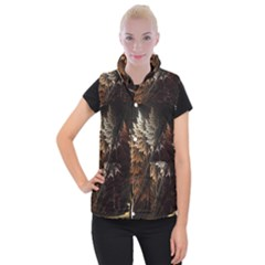 Fractalius Abstract Forests Fractal Fractals Women s Button Up Puffer Vest