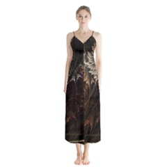 Fractalius Abstract Forests Fractal Fractals Button Up Chiffon Maxi Dress
