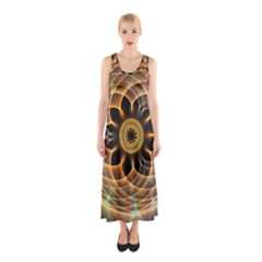 Mixed Chaos Flower Colorful Fractal Sleeveless Maxi Dress