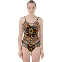 Mixed Chaos Flower Colorful Fractal Cut Out Top Tankini Set