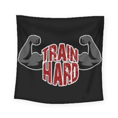 Train Hard Square Tapestry (small) by Valentinaart