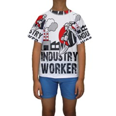 Industry Worker  Kids  Short Sleeve Swimwear by Valentinaart