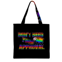 Dont Need Your Approval Zipper Grocery Tote Bag by Valentinaart