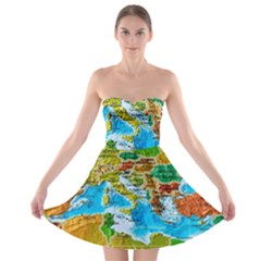 World Map Strapless Bra Top Dress