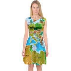 World Map Capsleeve Midi Dress by BangZart
