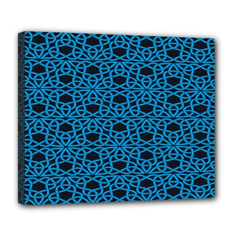 Triangle Knot Blue And Black Fabric Deluxe Canvas 24  X 20