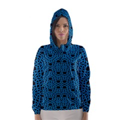 Triangle Knot Blue And Black Fabric Hooded Wind Breaker (women)