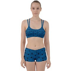 Triangle Knot Blue And Black Fabric Women s Sports Set