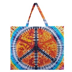 Tie Dye Peace Sign Zipper Large Tote Bag