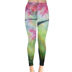 Forests Stunning Glimmer Paintings Sunlight Blooms Plants Love Seasons Traditional Art Flowers Sunsh Leggings  by BangZart