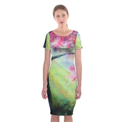 Forests Stunning Glimmer Paintings Sunlight Blooms Plants Love Seasons Traditional Art Flowers Sunsh Classic Short Sleeve Midi Dress