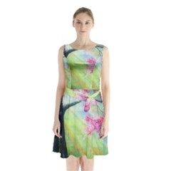 Forests Stunning Glimmer Paintings Sunlight Blooms Plants Love Seasons Traditional Art Flowers Sunsh Sleeveless Waist Tie Chiffon Dress