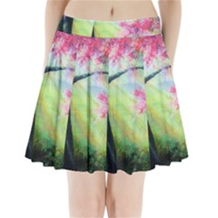 Forests Stunning Glimmer Paintings Sunlight Blooms Plants Love Seasons Traditional Art Flowers Sunsh Pleated Mini Skirt