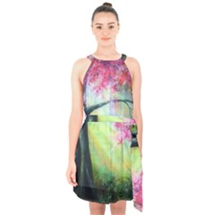 Forests Stunning Glimmer Paintings Sunlight Blooms Plants Love Seasons Traditional Art Flowers Sunsh Halter Collar Waist Tie Chiffon Dress by BangZart