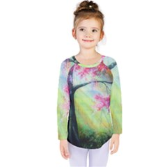 Forests Stunning Glimmer Paintings Sunlight Blooms Plants Love Seasons Traditional Art Flowers Sunsh Kids  Long Sleeve Tee