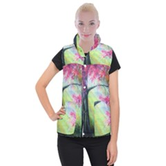 Forests Stunning Glimmer Paintings Sunlight Blooms Plants Love Seasons Traditional Art Flowers Sunsh Women s Button Up Puffer Vest by BangZart