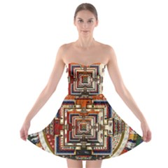 Colorful Mandala Strapless Bra Top Dress