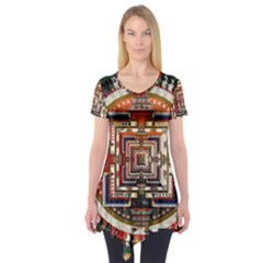 Colorful Mandala Short Sleeve Tunic