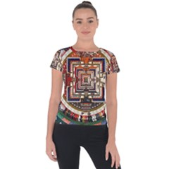 Colorful Mandala Short Sleeve Sports Top