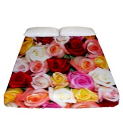 Rose Color Beautiful Flowers Fitted Sheet (king Size)