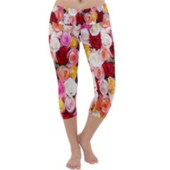 Rose Color Beautiful Flowers Capri Yoga Leggings