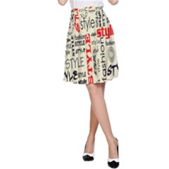 Backdrop Style With Texture And Typography Fashion Style A Line Skirt