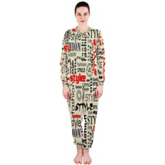 Backdrop Style With Texture And Typography Fashion Style Onepiece Jumpsuit (ladies)