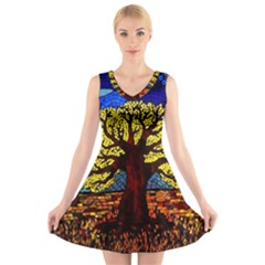 Tree Of Life V Neck Sleeveless Skater Dress