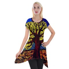 Tree Of Life Short Sleeve Side Drop Tunic