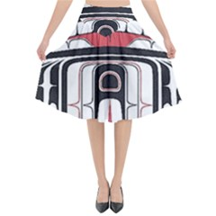 Ethnic Traditional Art Flared Midi Skirt