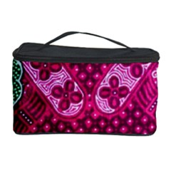 Pink Batik Cloth Fabric Cosmetic Storage Case by BangZart